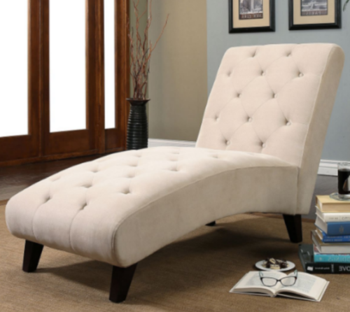 Chaise Lounge Chair Fabric Button Tufted Sleeper Sofa Loveseat