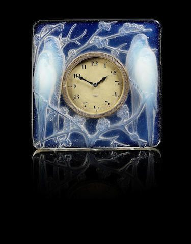 René Lalique (French, 1860-1945) 'Inséparables' a Clock, design 1926