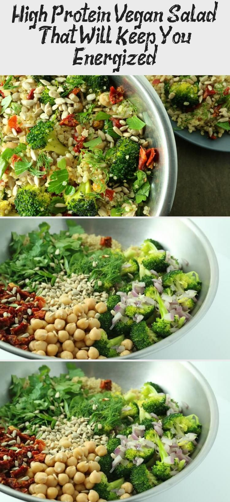 Photo of Quick and easy high protein vegan salad made with quinoa, broccoli, chickpeas, s…