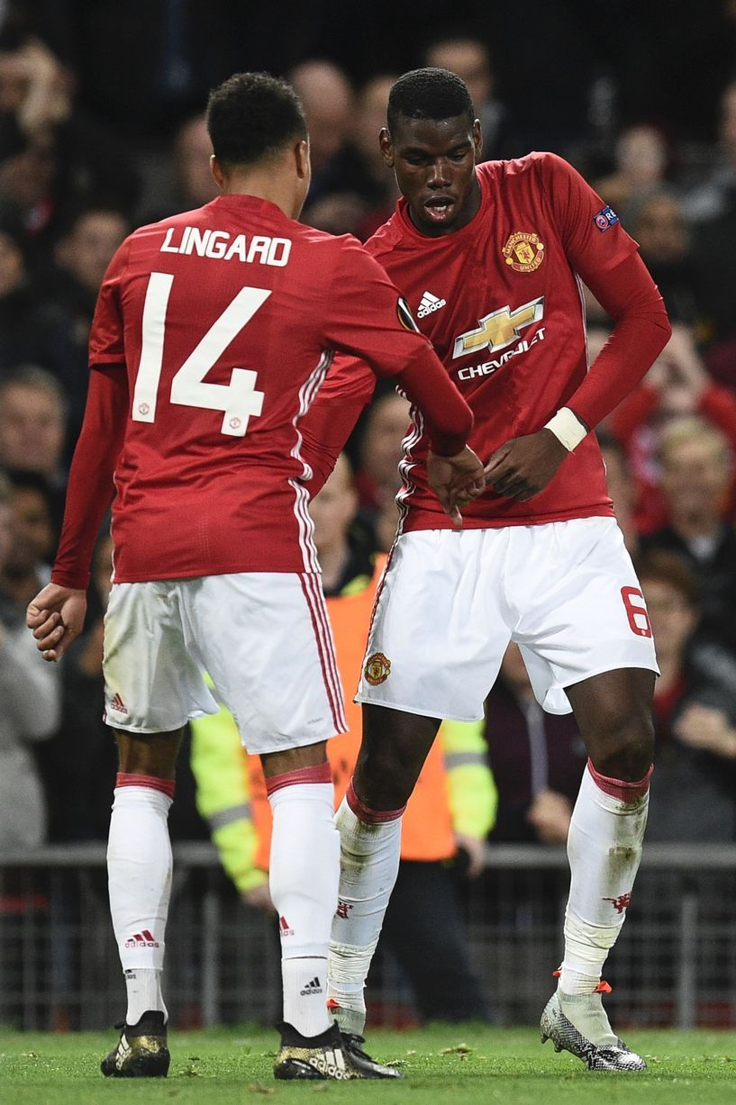 Paul Pogba and Jesse Lingard dance after Pogba scored the third goal     Paul Pogba and Jesse Lingard dance after Pogba scored the third goal