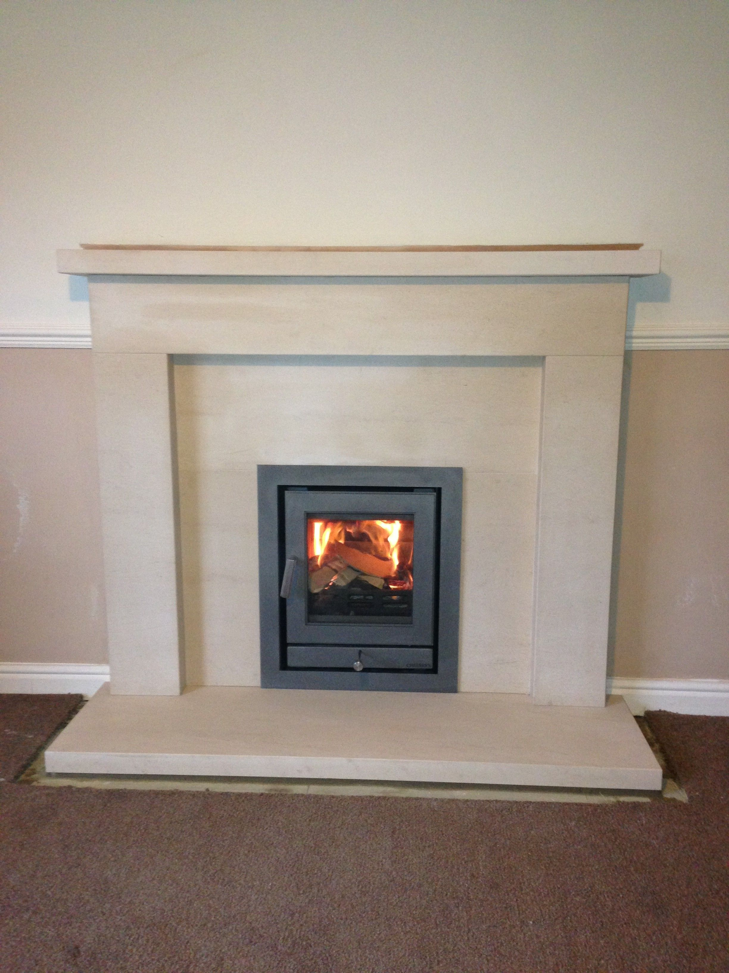 fireplace inset. Chesney s inset stove and limestone fireplace  House Pinterest