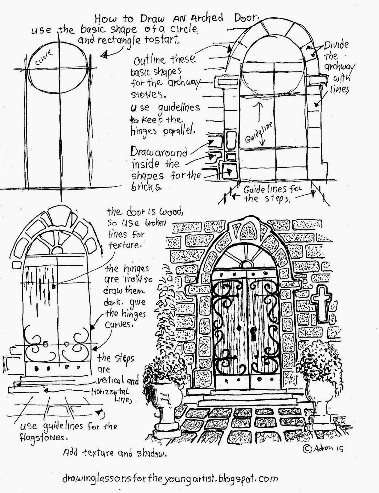 worksheet Drawing Worksheets how to draw an arched door a free printable worksheet worksheets for young artist