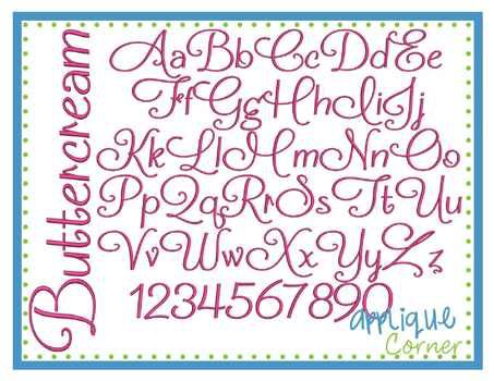 """#1177 Buttercream Embroidery Font - Applique Corner These letters come in  1.5"""", 2"""", 2.5"""", 3"""", 3.5"""", 4"""", 4.5"""", 5""""  sizes"""