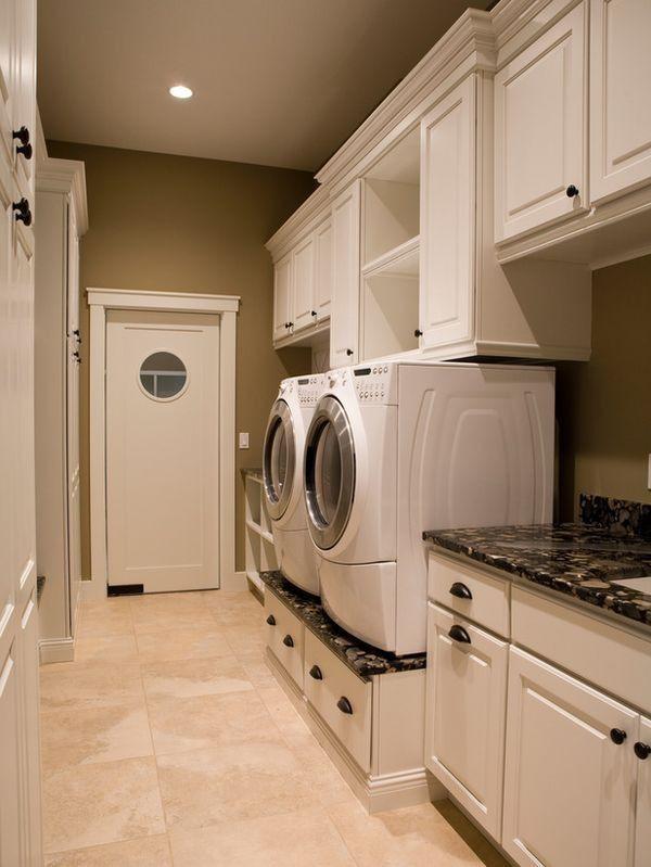Admirable Washer And Dryer On Pedestal Cabinets And Open Shelving Interior Design Ideas Oteneahmetsinanyavuzinfo