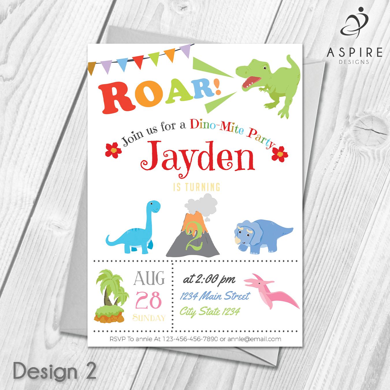 Personalised Dinosaur Childrens Boys Birthday Party Invitations ...