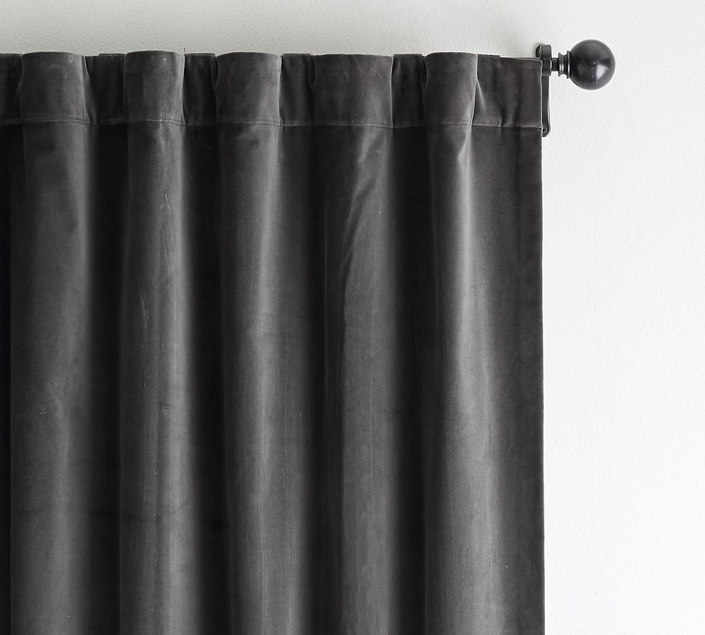 Velvet Twill Curtain Washed Black In 2020 Curtains Pottery