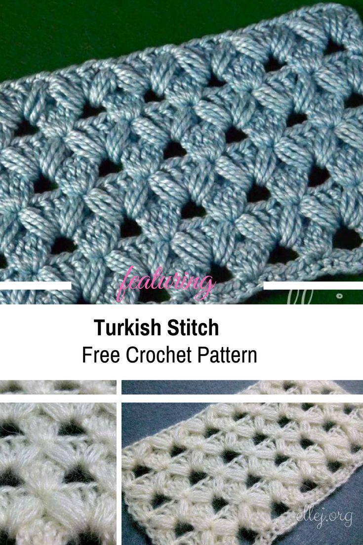 Häkelanleitung für türkische Häkelstiche - #Crochet #Free #Pattern # ...   - DIY Häkeln - #Crochet #...