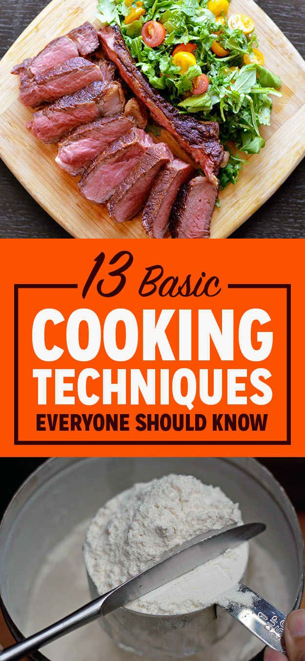 13 basic cooking techniques everyone should know foooood cooking cooking tips foods. Black Bedroom Furniture Sets. Home Design Ideas