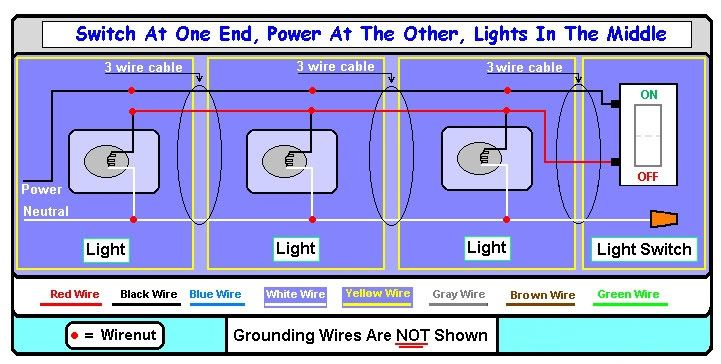 Need Diagram: supply power to multiple lights with switch