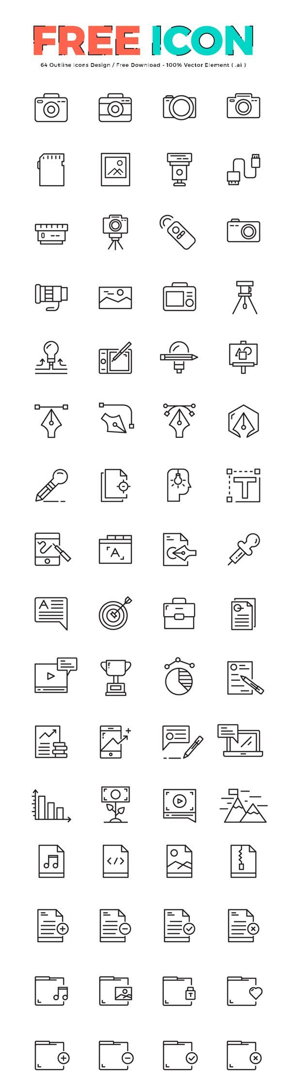 64 free outline icons if you like ux design or design thinking