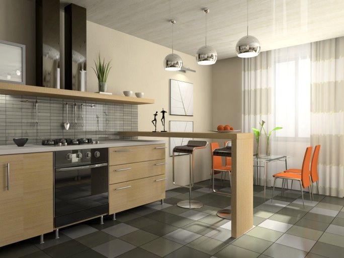 Zeitgenössische Küche Renovierung mit 3 großen Silber Anhänger Beleuchtung