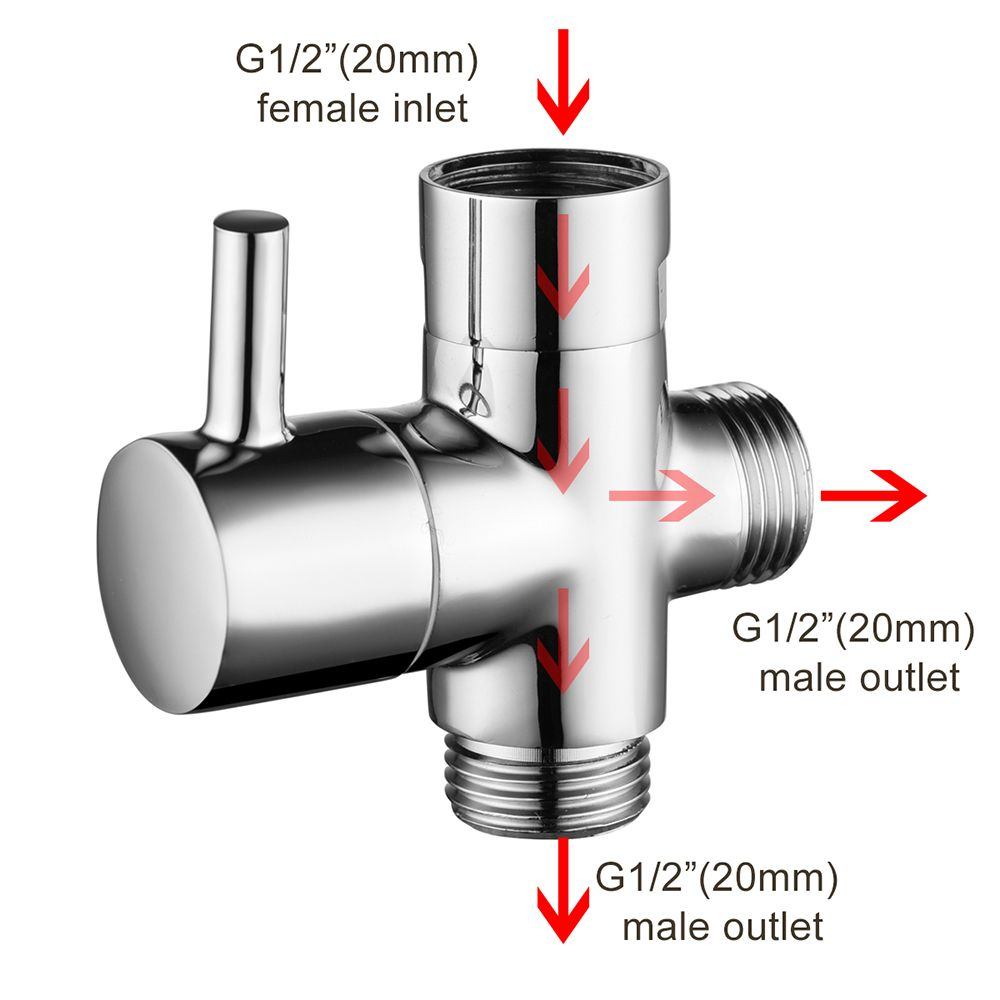 G1 2 Thread Size Brass Body Chrome Universal Diverter Handheld