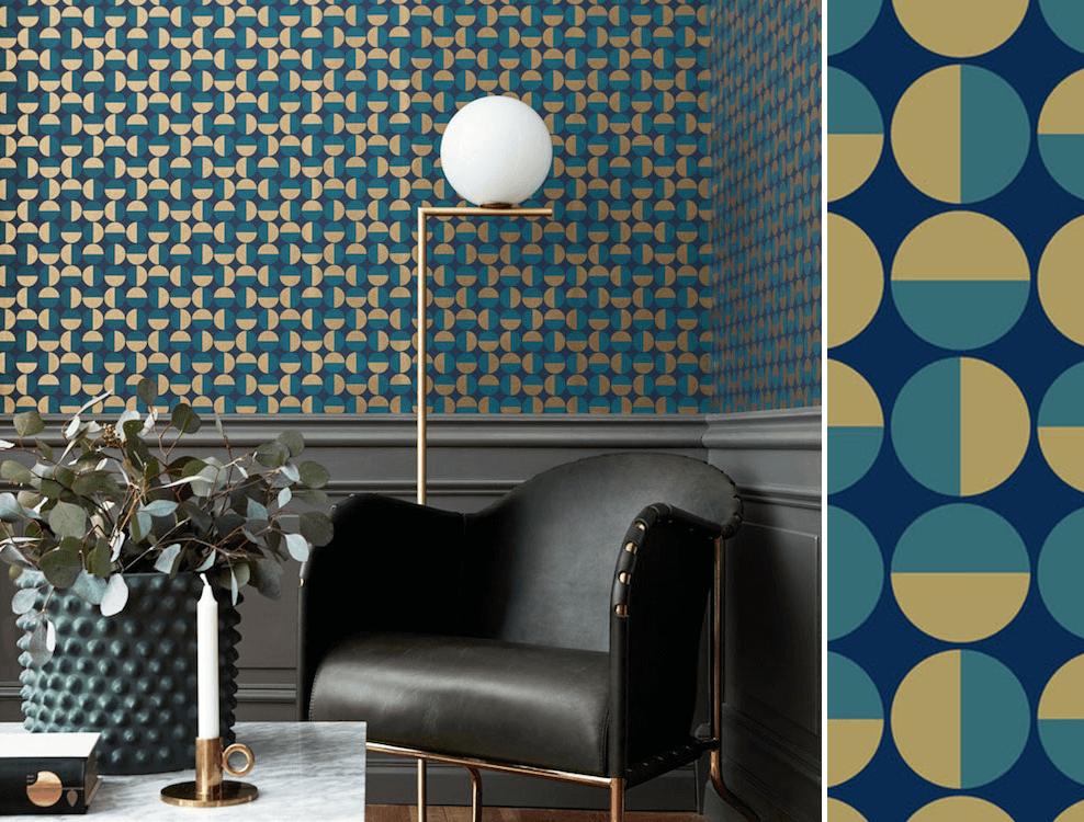 papier peint g om trique vertigo bleu et dor de borastapeter papier peint bleu pinterest. Black Bedroom Furniture Sets. Home Design Ideas