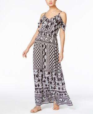 4df7a7d1279bd Inc International Concepts Printed Off-The-Shoulder Maxi Dress, Only at  Macy's - Black XXL