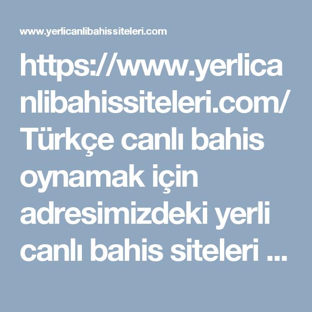 https://www.yerlicanlibahissiteleri.com/ Türkçe canlı bahis oynamak için adresimizdeki yerli canlı bahis siteleri adreslerine göz atabilirsiniz. #yerli #canlı #bahis #siteleri