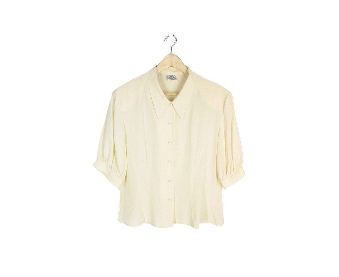 90s Cream Button Up Silk Blouse  Small