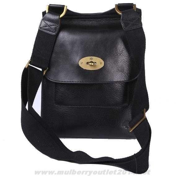 Buy Mulberry Mens Antony Natural Leather Messenger Bag Black Sale ...