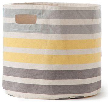 3 Stripe Canvas Storage Bin, Gray And Yellow Stripe Modern Storage Bins