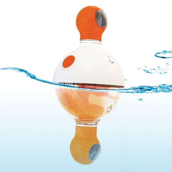 OMG LOVE!!! underabove is a floating camera that takes two photos at once - one photo above water and one underwater.