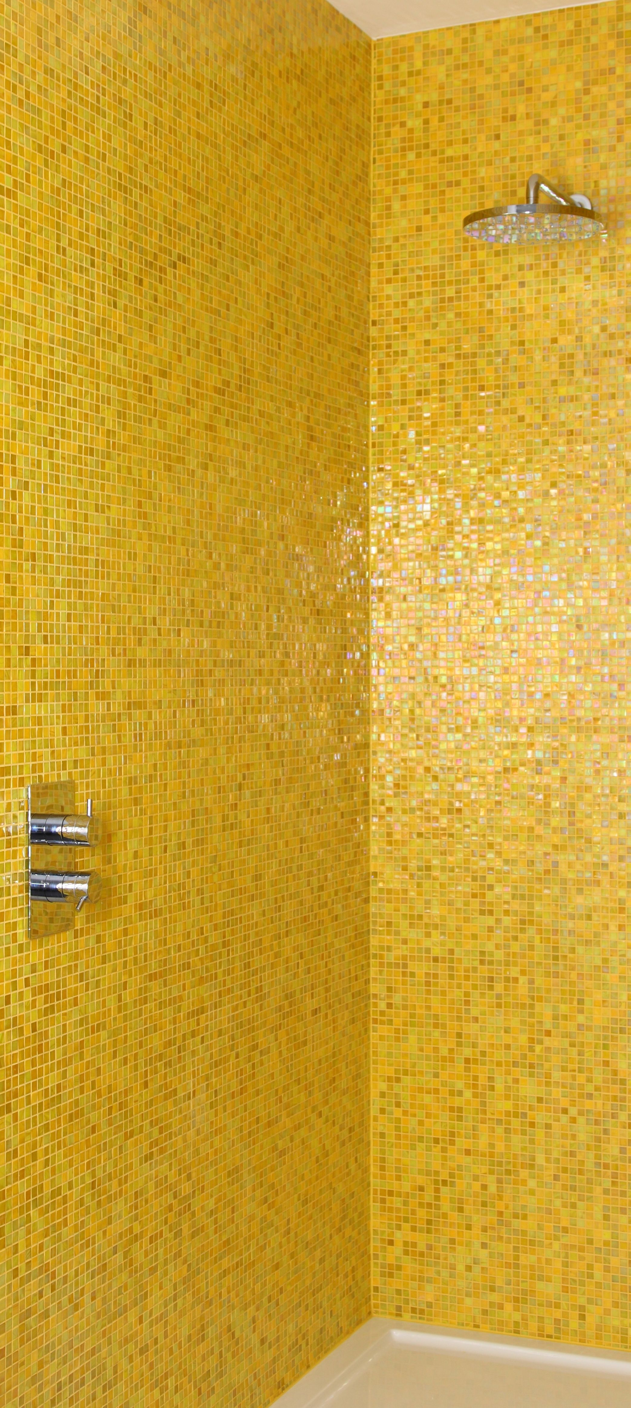 Bold Yellow Makes Such A Happy Statement In A Shower With Images Yellow Bathrooms Yellow