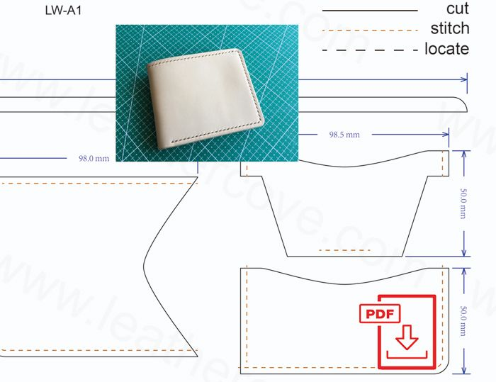 Pdf Pattern For The Leather Wallet Shown In The Picture Model Lw A1 Features 1 Cash Pock Wallet Pattern Free Leather Wallet Pattern Diy Leather Wallet Pattern