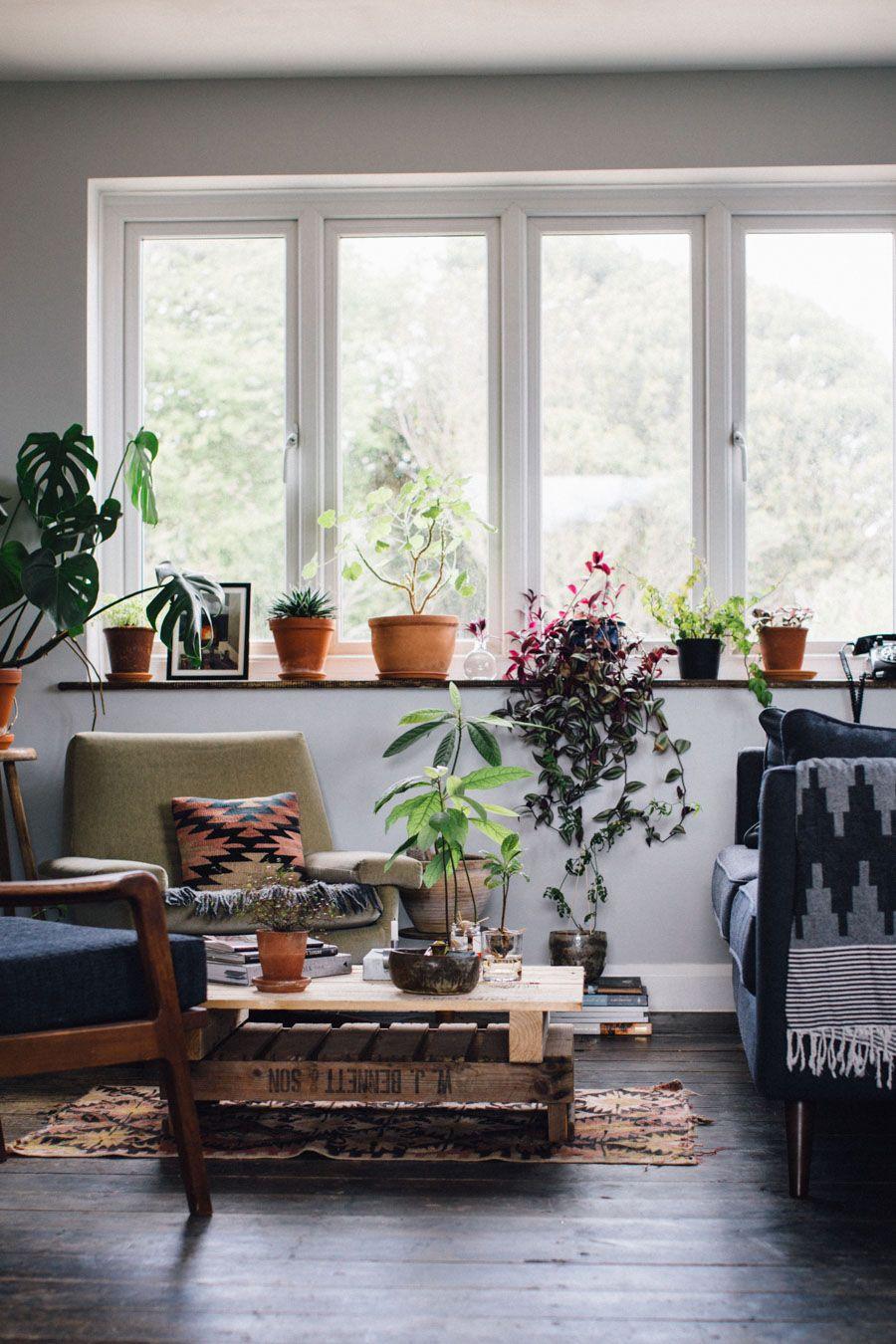 Living Room Interior Design Pdf: Modern Rustic Bohemian Plant Filled Living Space
