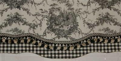 Waverly French Country Black White Toile Tle Gingham Valance Curtains Sewing