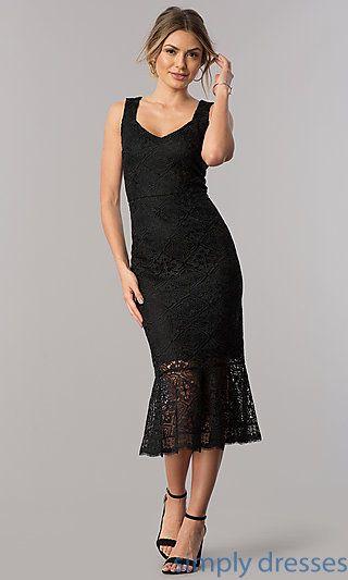 Lace Sheath Black Midi Wedding Guest Party Dress In 2019 Liesls