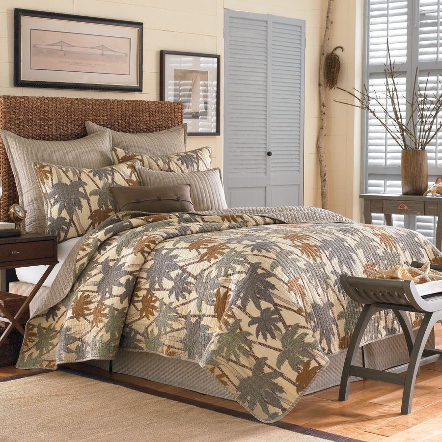 tropical style beds | Tommy Bahama Drift Palm Quilt Collection from Beddingstyle.com