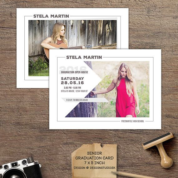 cool timeless design versatile graduation announcement card template suitable for girls and guys