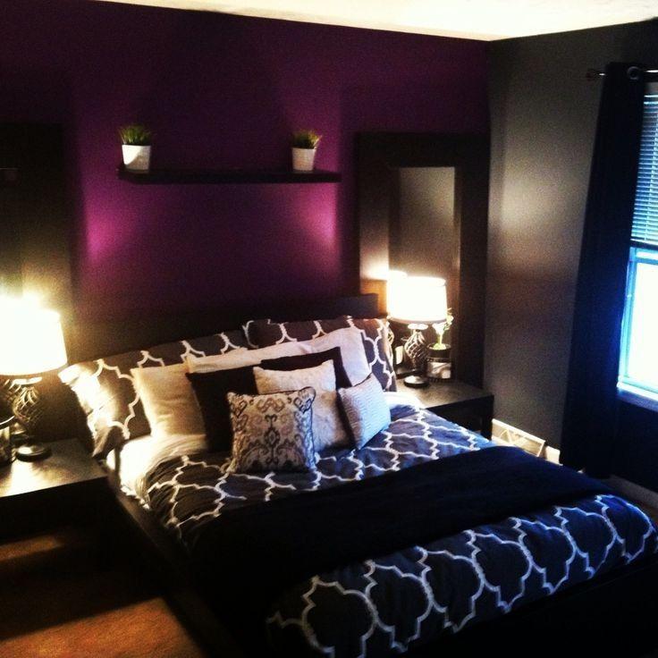 Grey Bedroom With Purple Accent WallsPurple