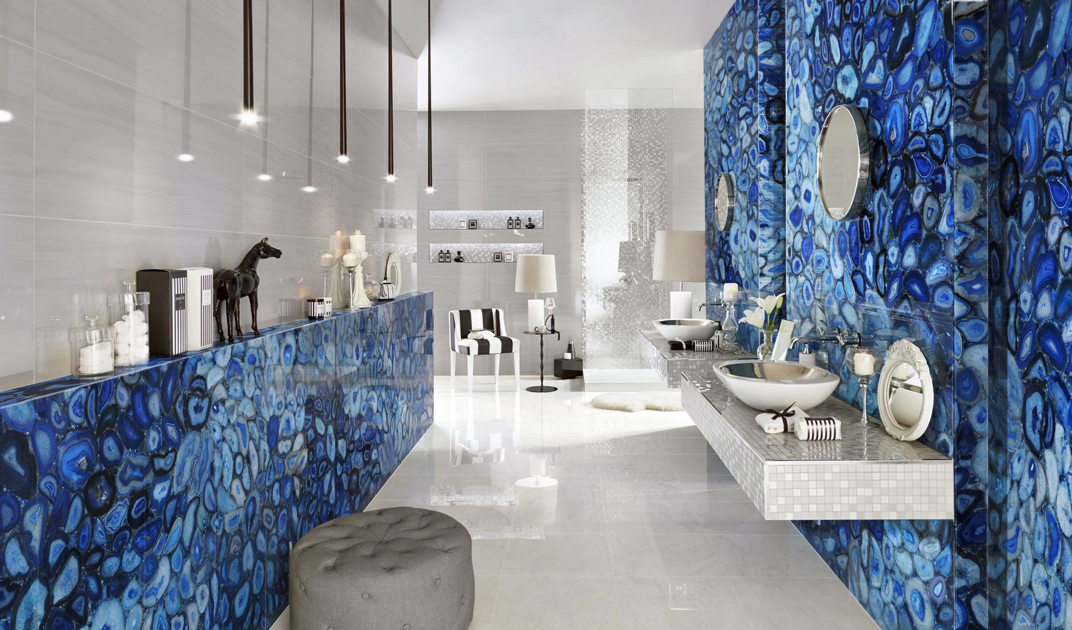 Agate Blue Slabs Architecture Living