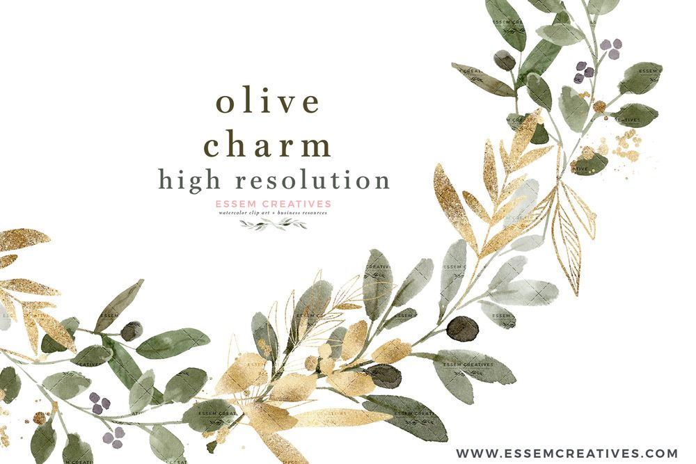 Watercolor Olive Branch Clipart Olive Leaves Leaf Clip Art Green Gold Wreath Border Geometric Clip Art Watercolor Wedding Invitations Interior Design Rustic