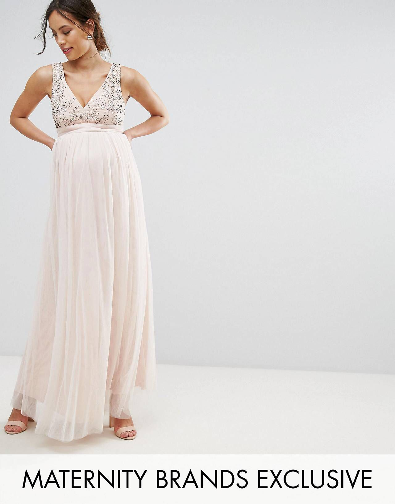 Little Mistress Maternity Plunge Front Embellished Maxi Dress ...