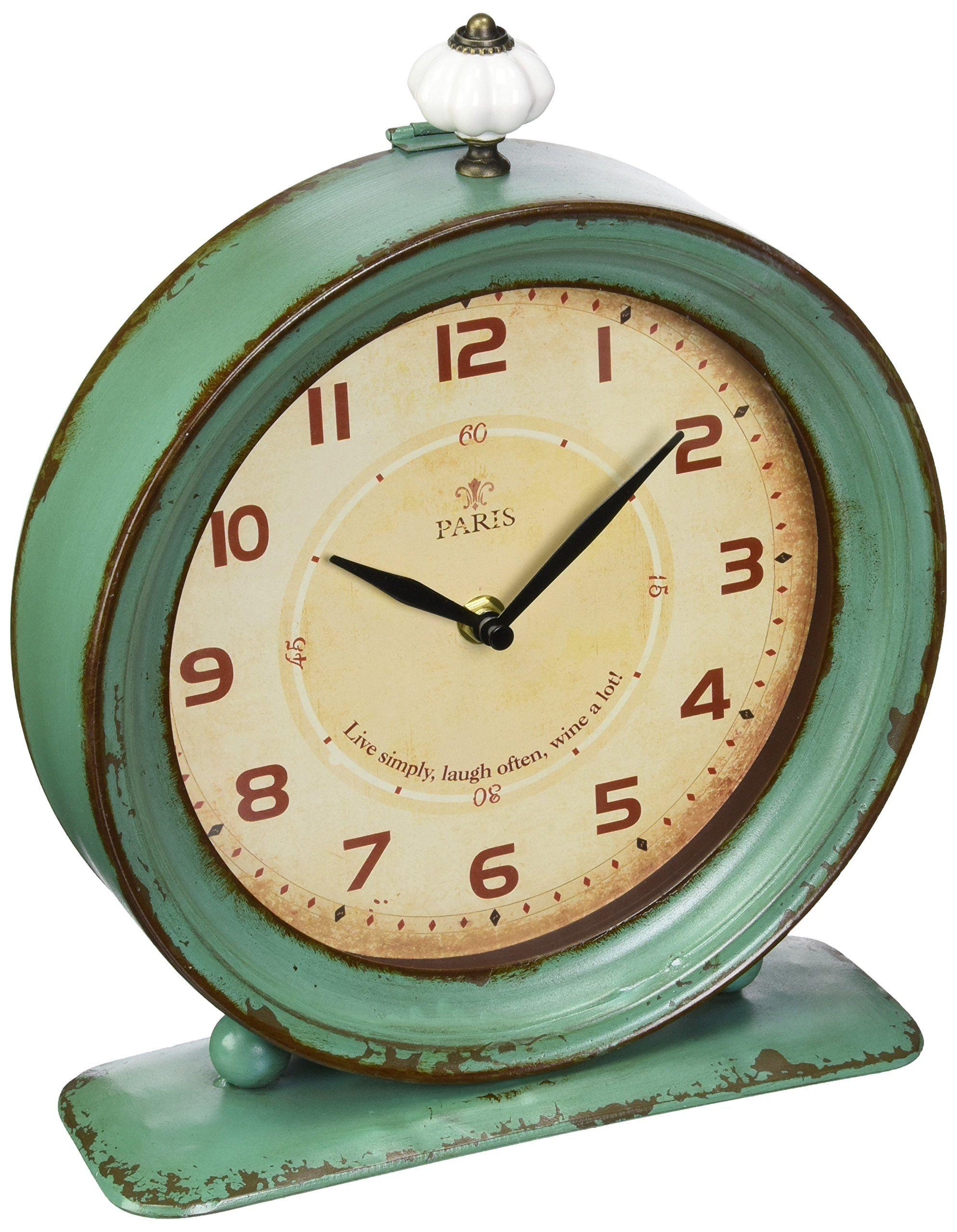 Creative Co Op Metal Rustic Retro Table Clock 10 5 Inch Aqua V