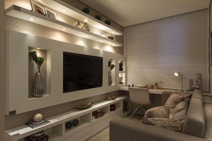 Decor: Sala De Tv Com Home. Wohnwand IdeenRigipsSchrankwandTv WändeSteinwand HeimkinoInnenausstattungWohnzimmer ...