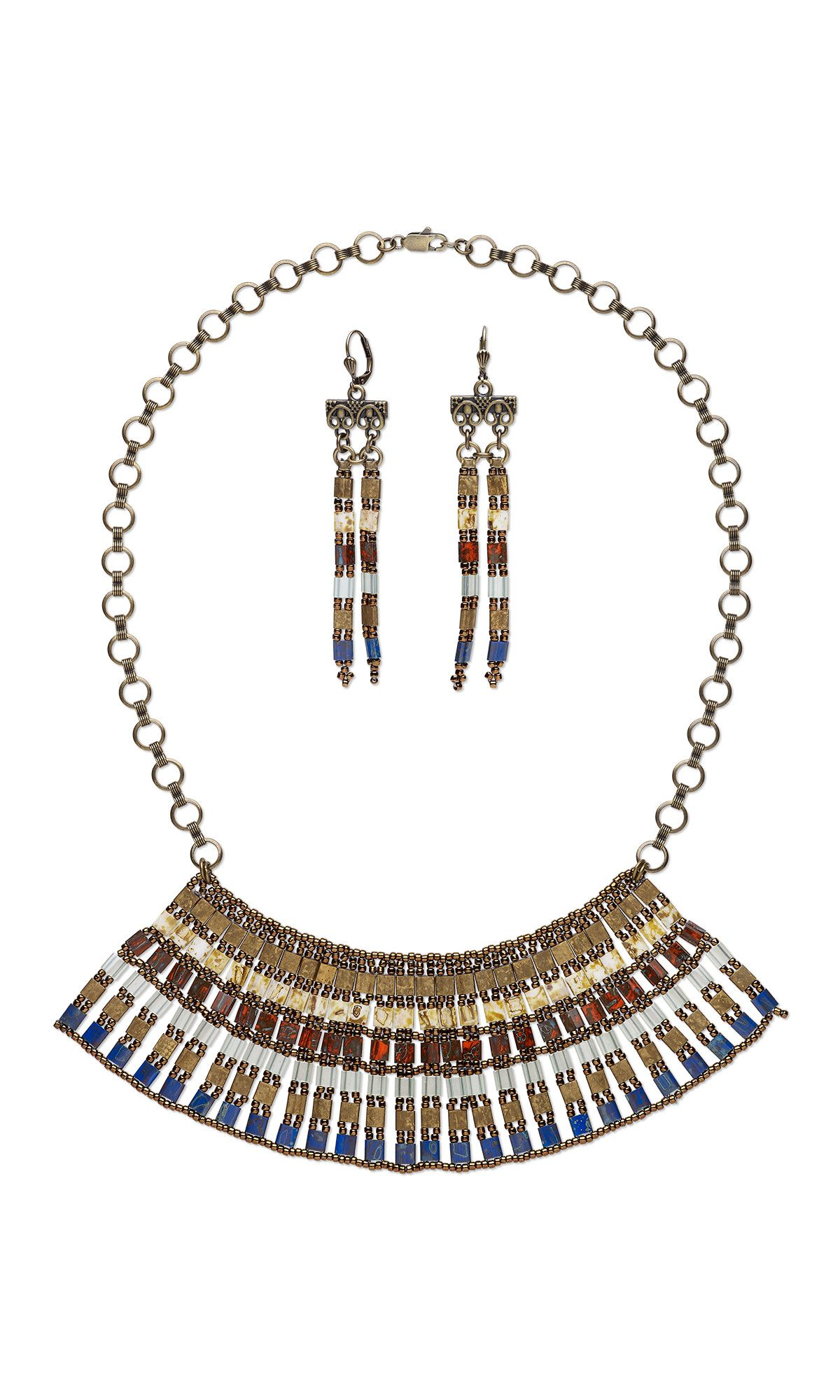 Jewelry Design - Bib-Style Necklace and Earring Set with Tila® Beads - Fire Mountain Gems and Beads
