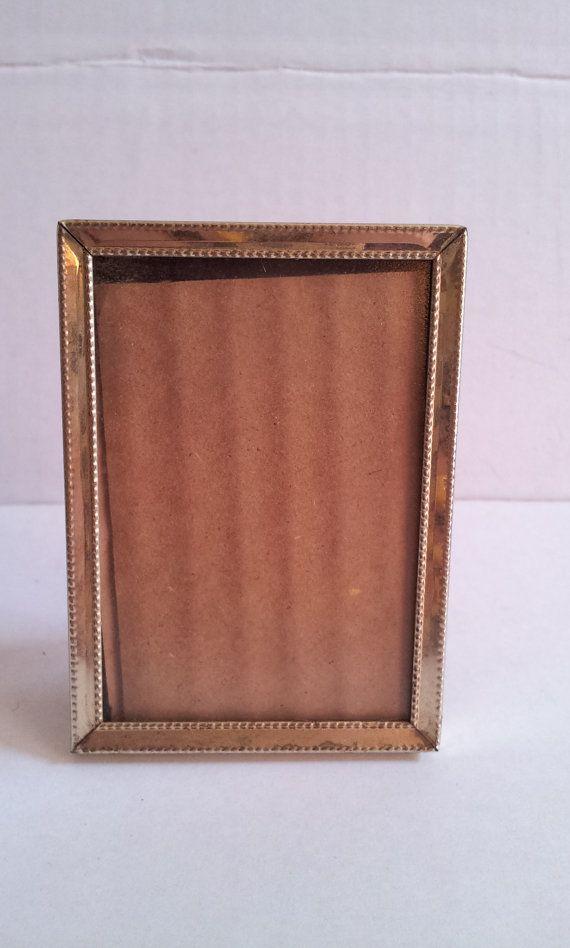 3x2 Mini Gold Picture Frame Vintage Gold Toned Metal Easel Back