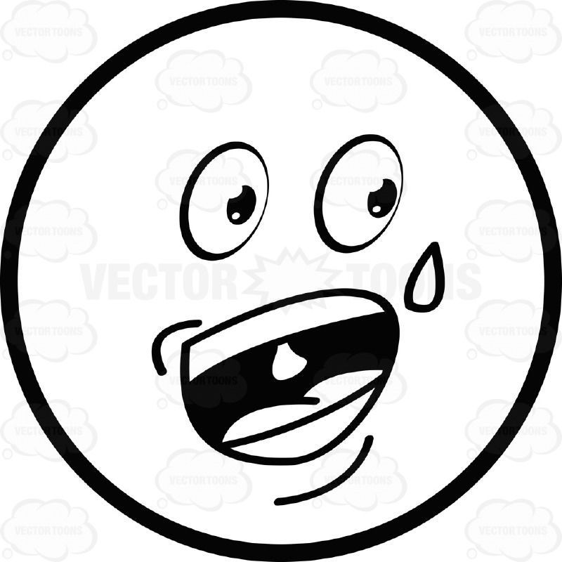 Nervous Talking Sweating Large Eyed Black And White Smiley Face Emoticon Emoticon Black And White Smiley Face
