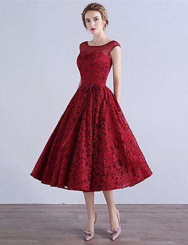 f7ae1c8d06 A-Line Illusion Neckline Tea Length Lace Cocktail Party Homecoming Dress  with Bow(s) by MYF