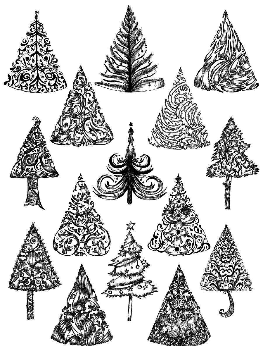 Hand Drawn Christmas Tree Vector And Photoshop Brush Pack 01 How To Draw Hands Rosette Image Vector Free