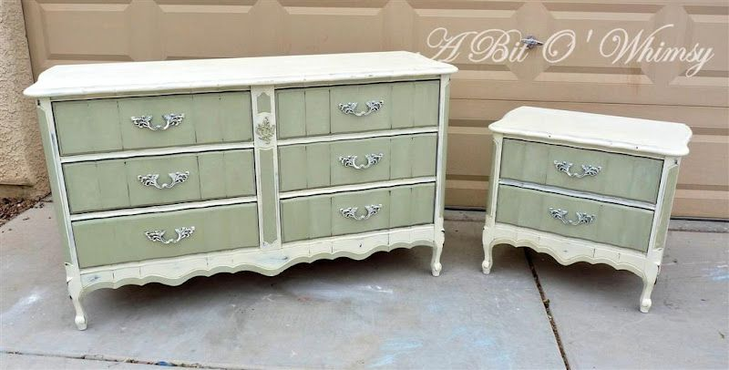 French Provincial Sage Green And White Diy Chalk Paint Dresser Nightstand At Www Abitowhimsy