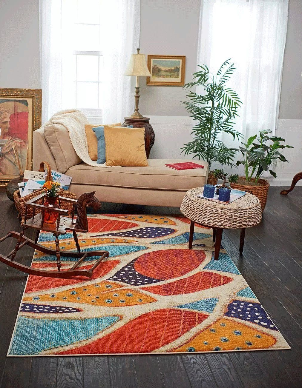 A2z Rug California Collection Rust Red 5 X 8feet Modern Area