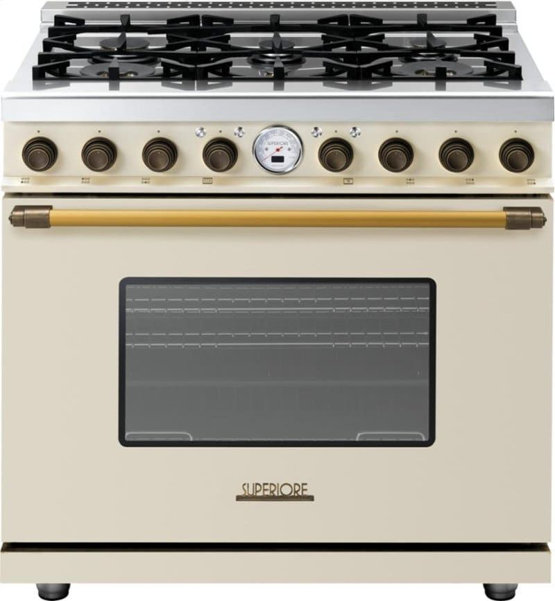 Superiore Rd361sccb 36 Inch Freestanding Dual Fuel Range With 6 Sealed Burners Electric Oven Telescopic Glide Shelves 4 Convec Gas Oven Gas Range Oven Range