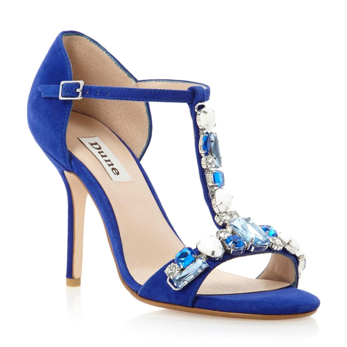 Blue suede 'Haylee' multi jewelled high heel sandal | A shoes ...