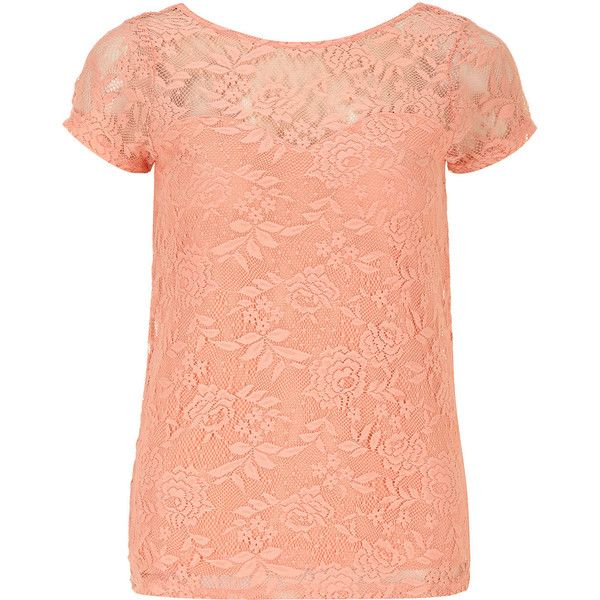 086b483af15fbe Dorothy Perkins Peach lace scoop back top ($15) ❤ liked on Polyvore  featuring tops