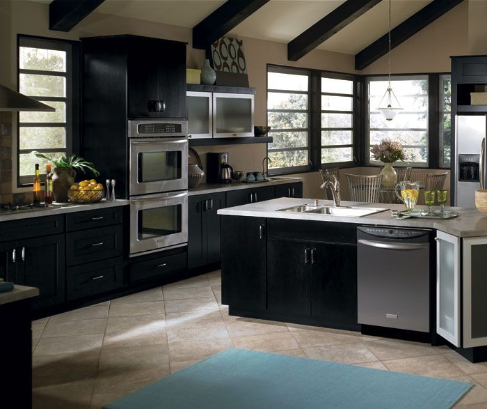 Modern Maple Cabinets With Dark Wood Floor: Contemporary Kitchen Using The Huxley Door In Black