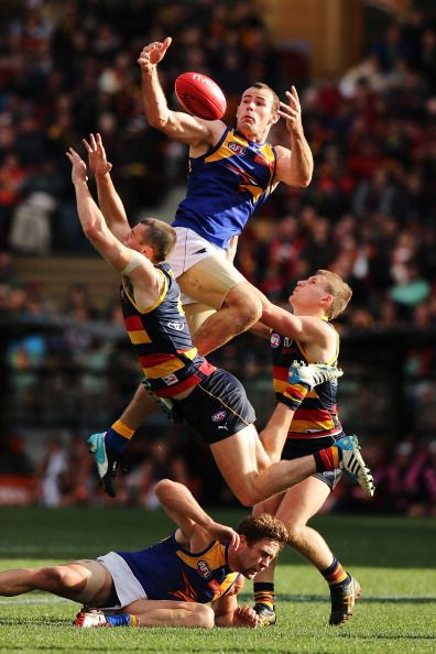 Shannon Hurn of the Eagles takes a mark during the round 19 AFL match between the Adelaide Crows and the West Coast Eagles at Adelaide Oval on August 2, 2014 in Adelaide, Australia. (Photo by Morne de Klerk/Getty Images)