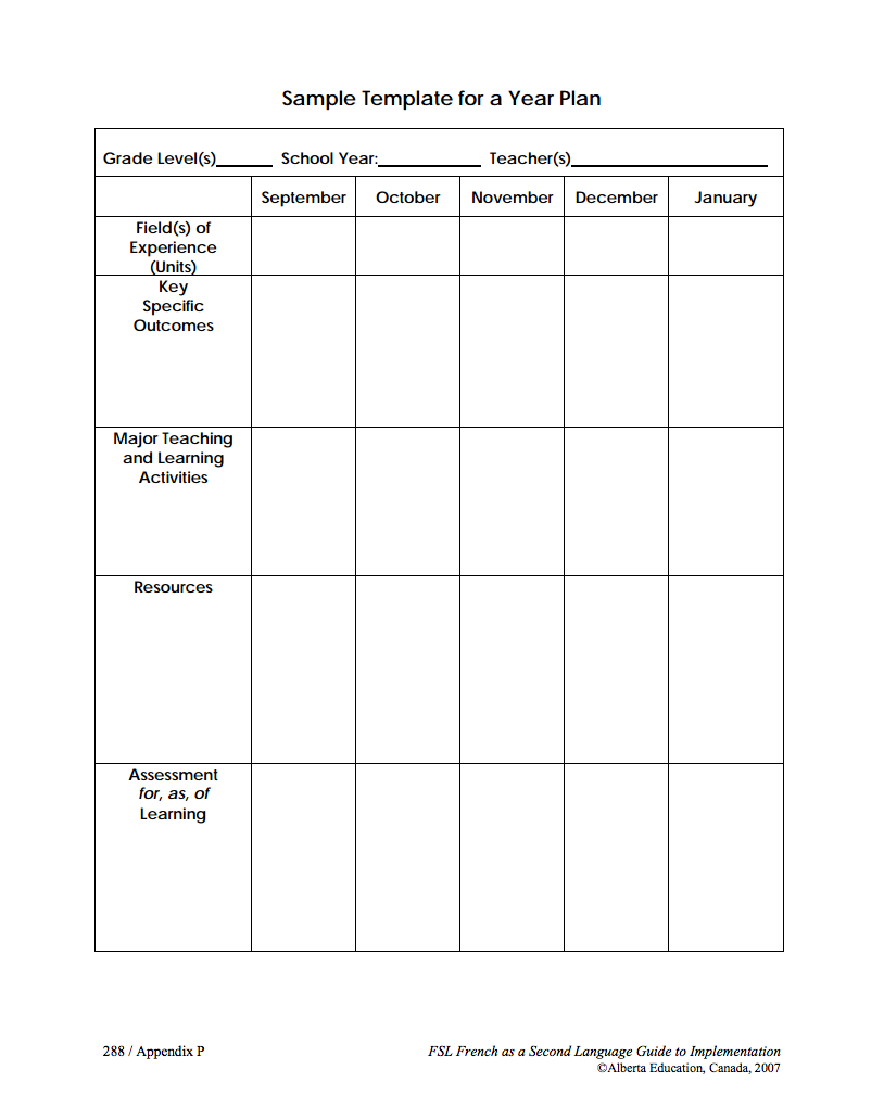 Alberta Education Long Range Plan Templates Black And White Pdf