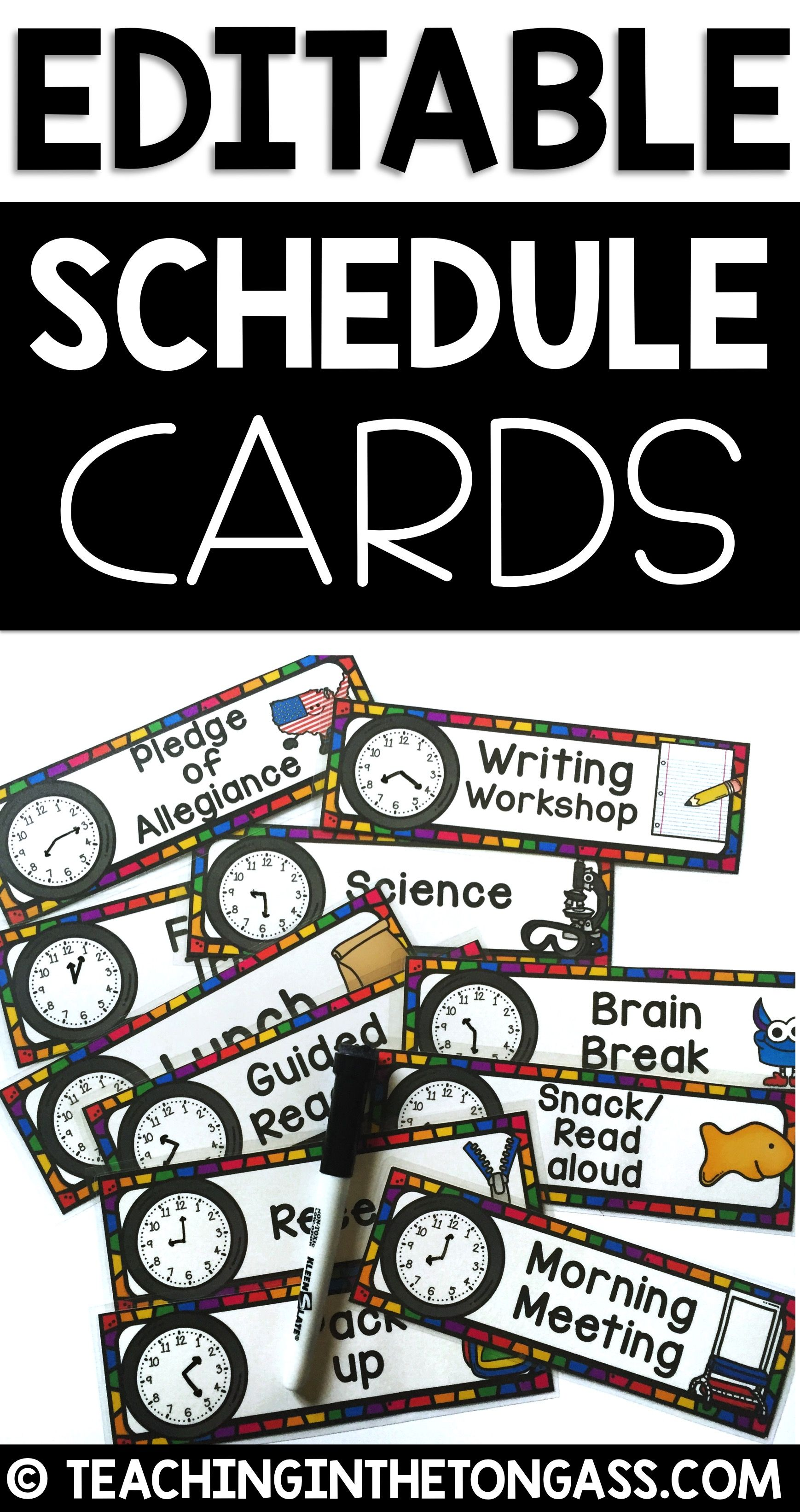 Visual Schedule Editable Cards